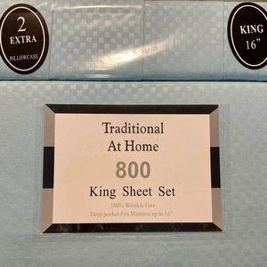 Traditional At Home 6pc King Sheet Set baby blue